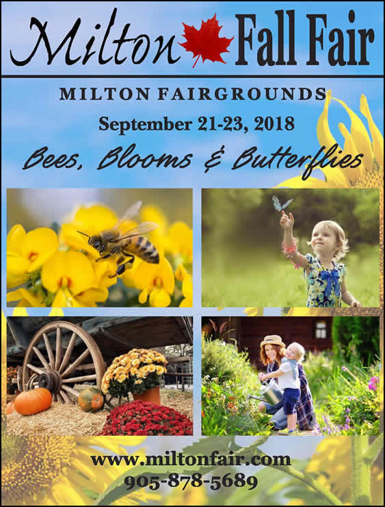 Milton Fall Fair 2018 Book Cover - Bees, Blooms & Butterflies