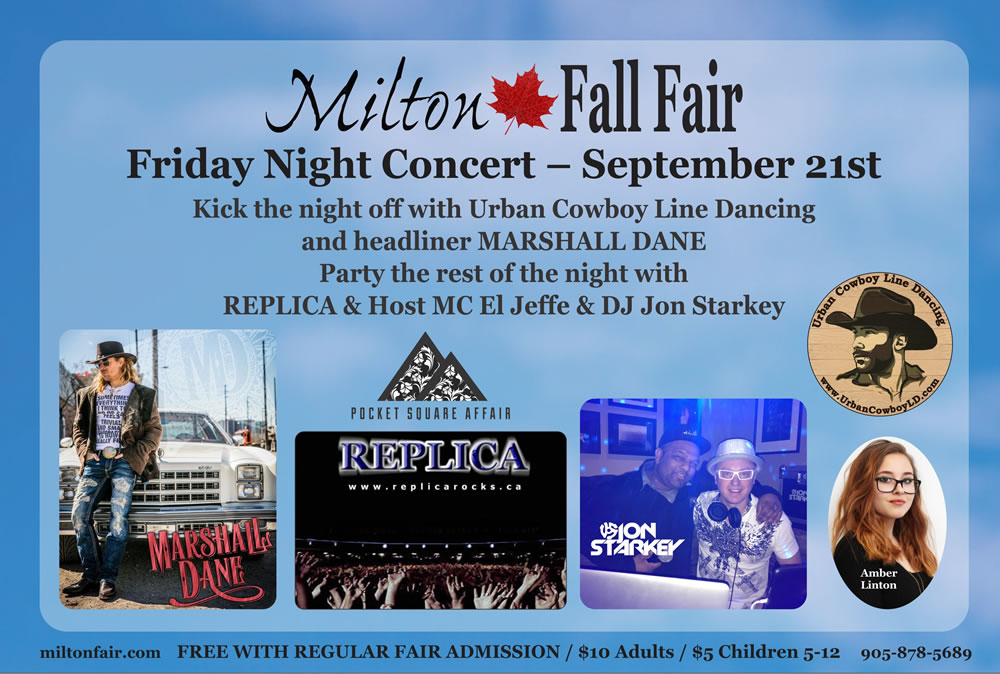 Friday night concert. Kick the night off with Urban Cowboy Line Dancing and headliner Marshall Dane. Party the rest of the night with Repica & Host MC El Jeffe & DJ Jon Starkey